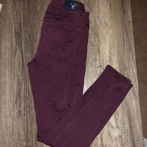 American Eagle Burgundy Skinny Jeans